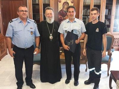 Eπίσκεψη του Έλληνα Διοικητή των εθελοντικών μονάδων πυρόσβεσης του Αννόβερου της Γερμανίας στον σεβασμιώτατο Μητροπολίτη Χαλκίδος