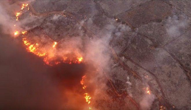 Tα Κύθηρα φλέγονται: Εικόνες καταστροφής καταγράφει βίντεο drone