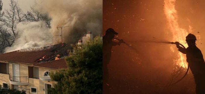 Κόλαση φωτιάς στον Κάλαμο: Κάηκαν 20 σπίτια, εκκενώθηκαν δύο κατασκηνώσεις