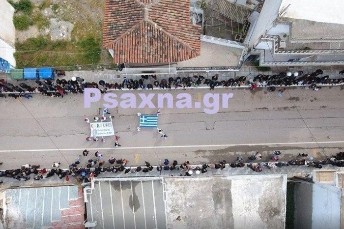 Η παρέλαση  στα Ψαχνά από ψηλά  μέσω drone  ! (video)
