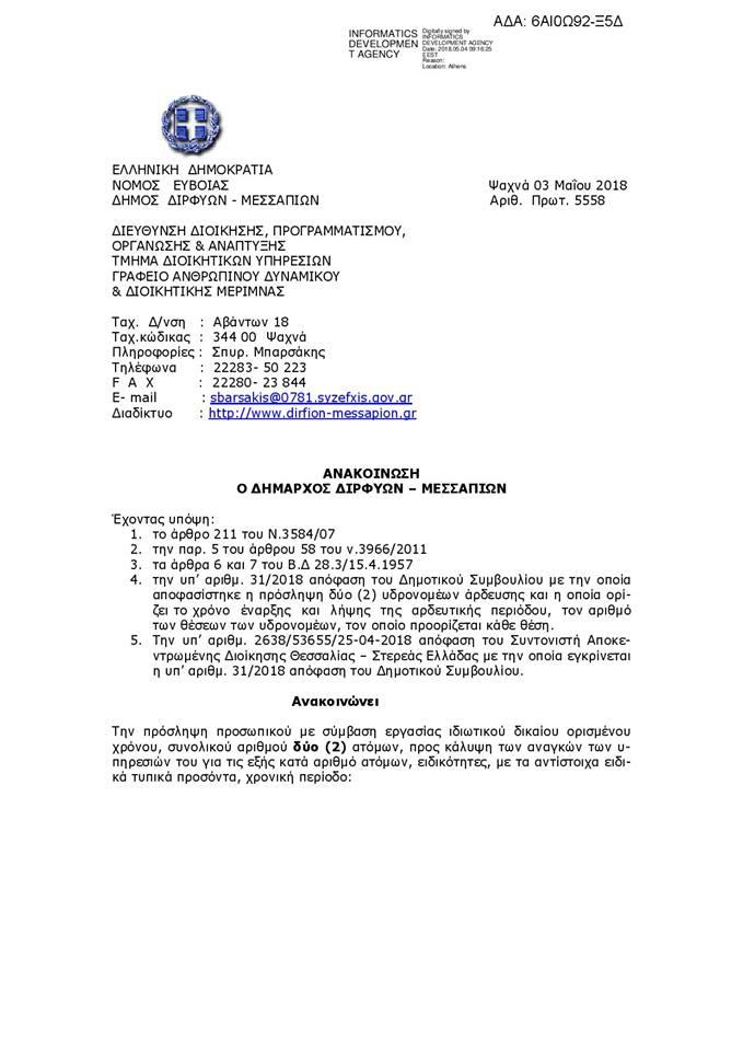 Δύο υδρονομείς σε Μακρυκάπα και Πολιτικά προσλαμβάνει ο Δήμος Διρφύων Μεσσαπίων 3