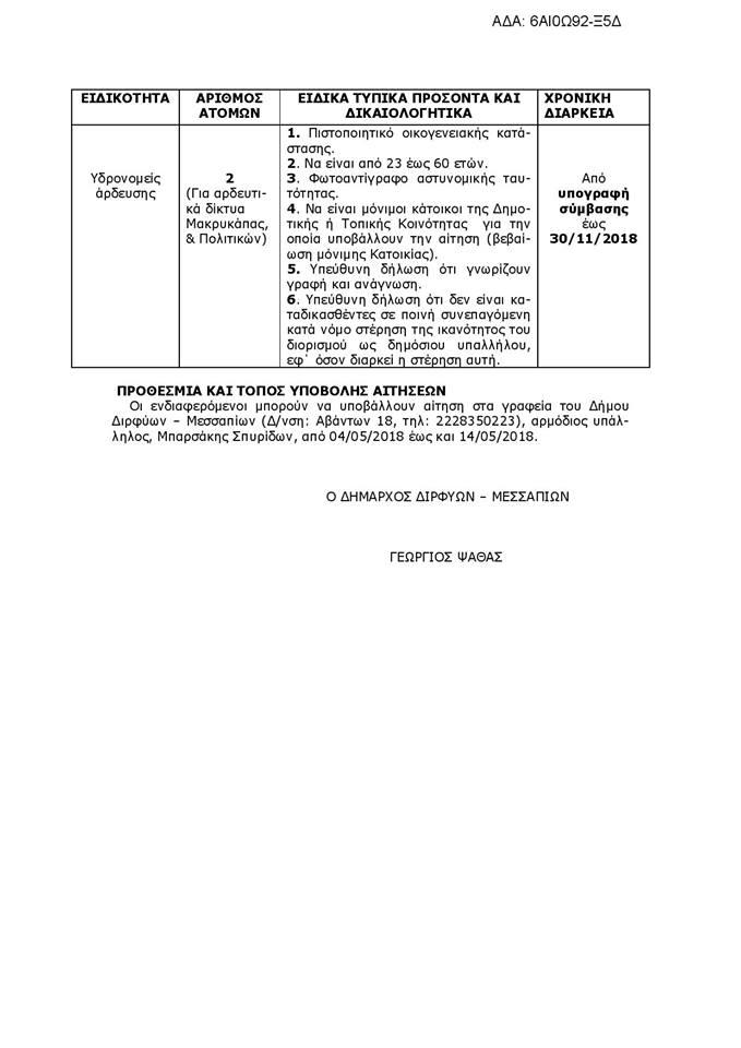 Δύο υδρονομείς σε Μακρυκάπα και Πολιτικά προσλαμβάνει ο Δήμος Διρφύων Μεσσαπίων 4