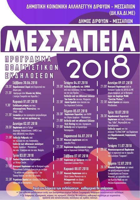 Πρόγραμμα Πολιτιστικών εκδηλώσεων «Μεσσάπεια 2018» 1 9