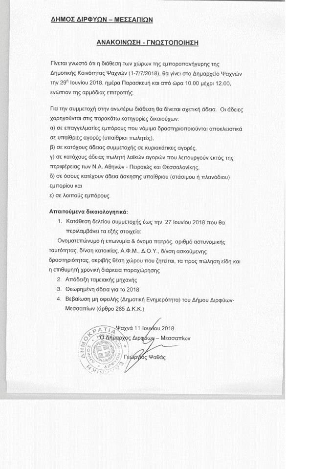 Ανακοίνωση για τη διάθεση των χώρων της εμποροπανήγυρης (1-7 Ιουλίου 2018) της Δημοτικής κοινότητας Ψαχνών 3 1