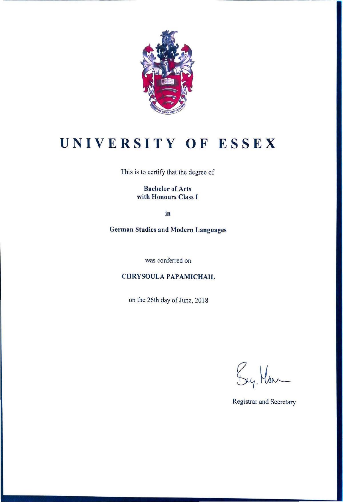 Πρώτη στο Πανεπιστήμιο του Essex η Χρύσούλα Παπαμιχαήλ από τα Ψαχνά 5