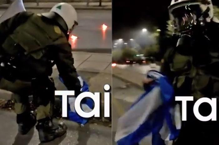 Αστυνομικός έσωσε την ελληνική σημαία από αναρχικούς που ήθελαν να την κάψουν  (video)