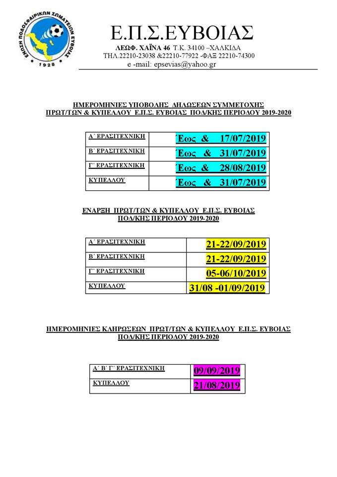 Ημερομηνίες υποβολής δηλώσεων συμμετοχής-Έναρξη πρωταθλημάτων-Ημερομηνίες κληρώσεων πρωταθλημάτων και Κυπέλλου ποδοσφαιρικής περιόδου 2019-20 23