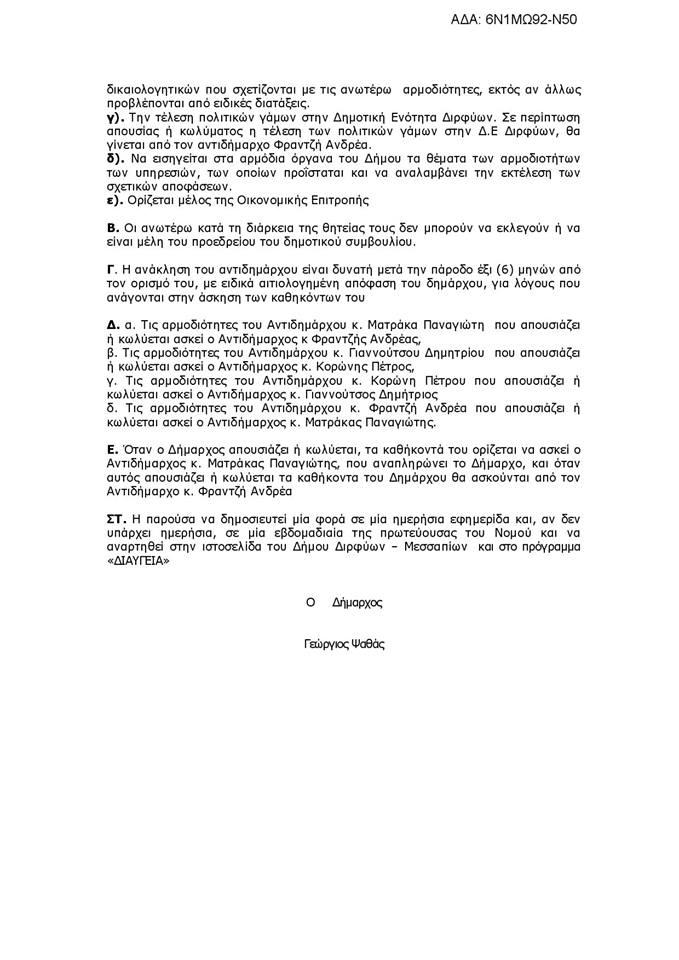 Αυτές είναι οι αρμοδιότητες των νέων Αντιδημάρχων του Δήμου Διρφύων Μεσσαπίων.Υπεύθυνο Αντιδήμαρχο για τα αδέσποτα όρισε ο Δήμαρχος Γιώργος Ψαθάς 6