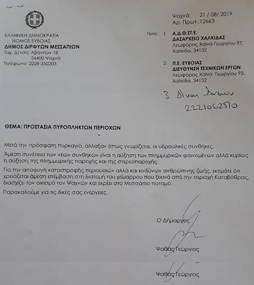 Άμεσες παρεμβάσεις για την προστασία της περιοχής μετά από έγγραφα του Δημάρχου προς το Δασαρχείο και την ΠΕ Ευβοίας 70593442 377853729831733 1784105143898210304 n