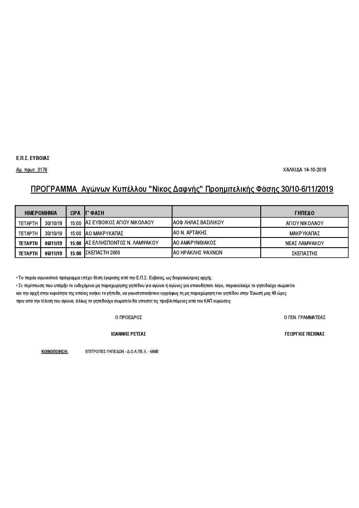 Κύπελλο Ευβοίας: Πρόγραμμα προημιτελικής φάσης 12 5