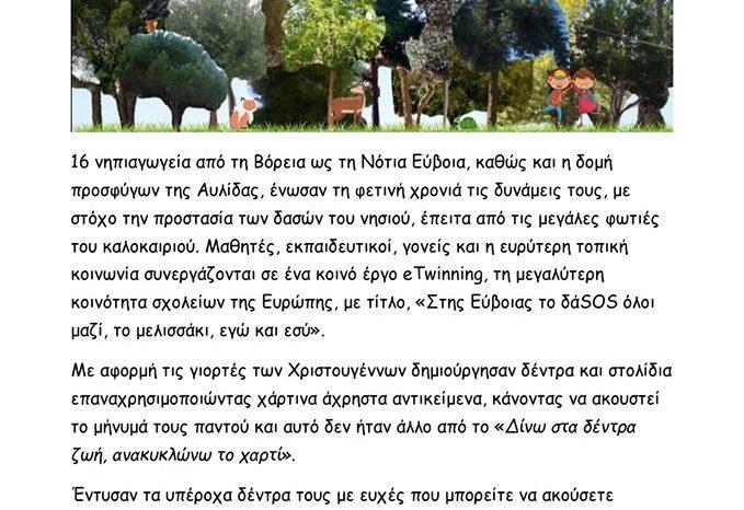 Το νηπιαγωγείο του Πάλιουρα συμμετέχει στο συνεργατικό πρόγραμμα e-twinning με τίτλο «Στης Εύβοιας το δάSOS όλοι μαζί, το μελισσάκι, εγώ και εσύ».